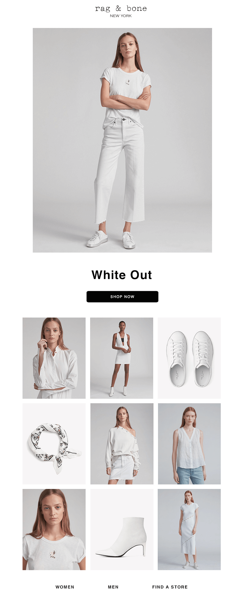 Rag & Bone black and white emails