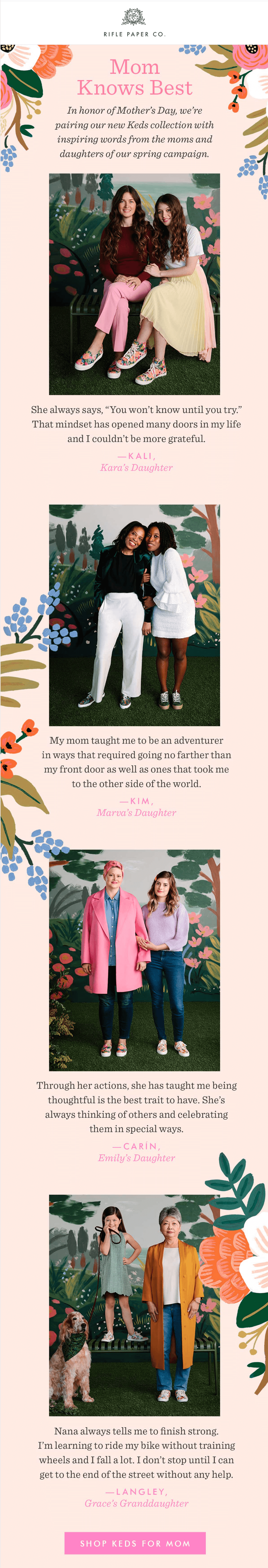 Rifle Paper Co. Mother's Day emails