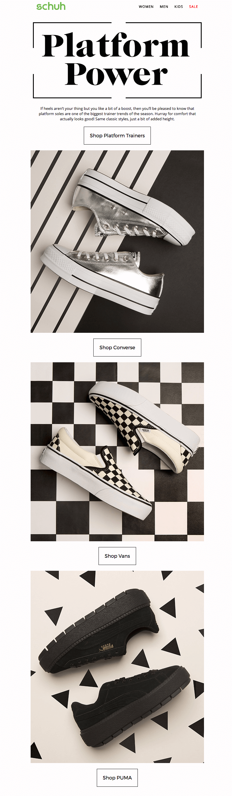 Schuh black and white emails