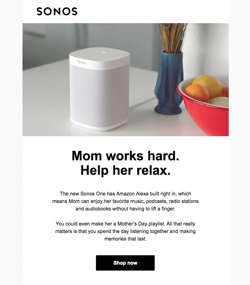 sonos Mother's Day emails