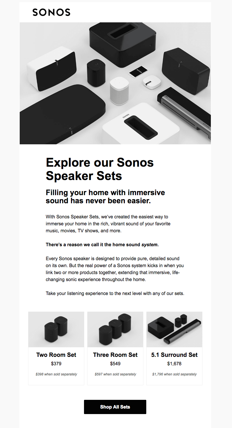 Sonos black and white emails