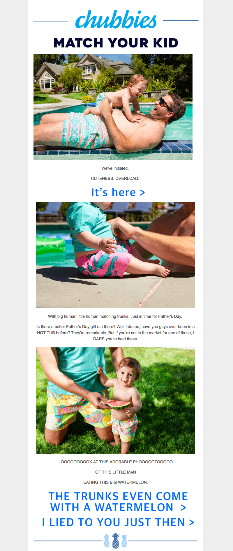 Chubbies Father's Day Email Designs