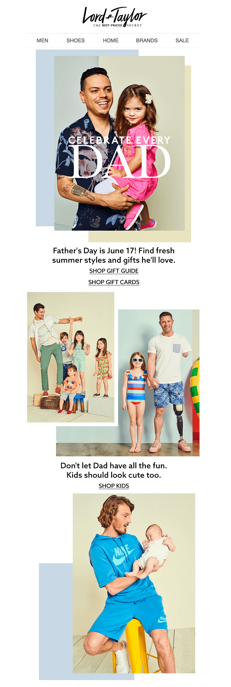 Lord & Taylor Father's Day Email Designs