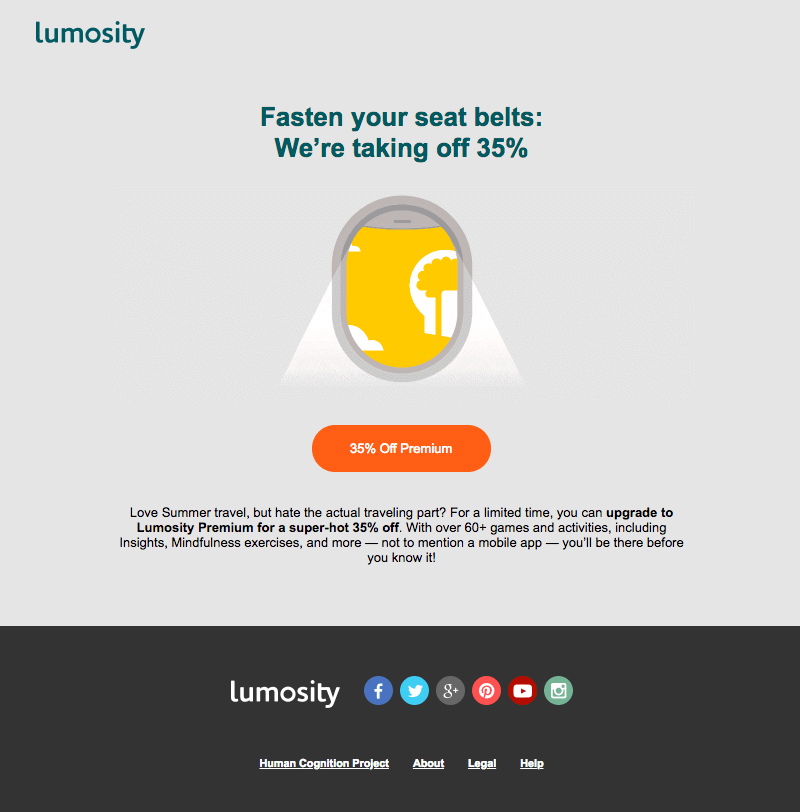 Lumosity vacation emails