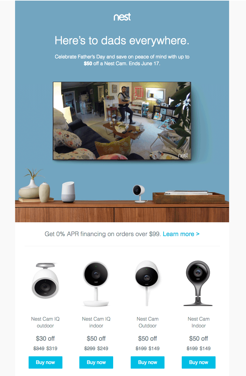 Nest Cam Father's Day Email Designs