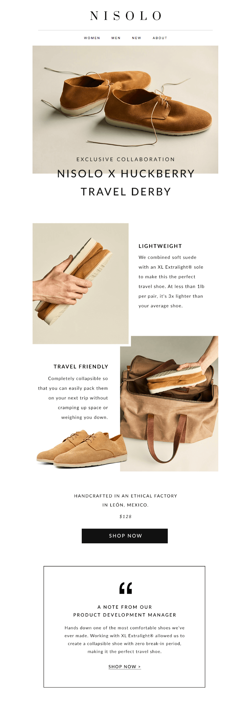Nisolo Huckberry brand collaboration emails