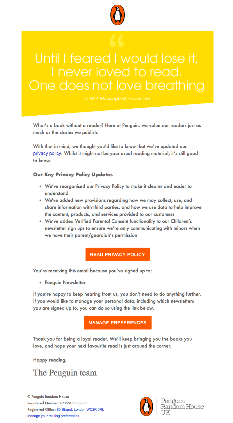 Penguin Books GDPR emails