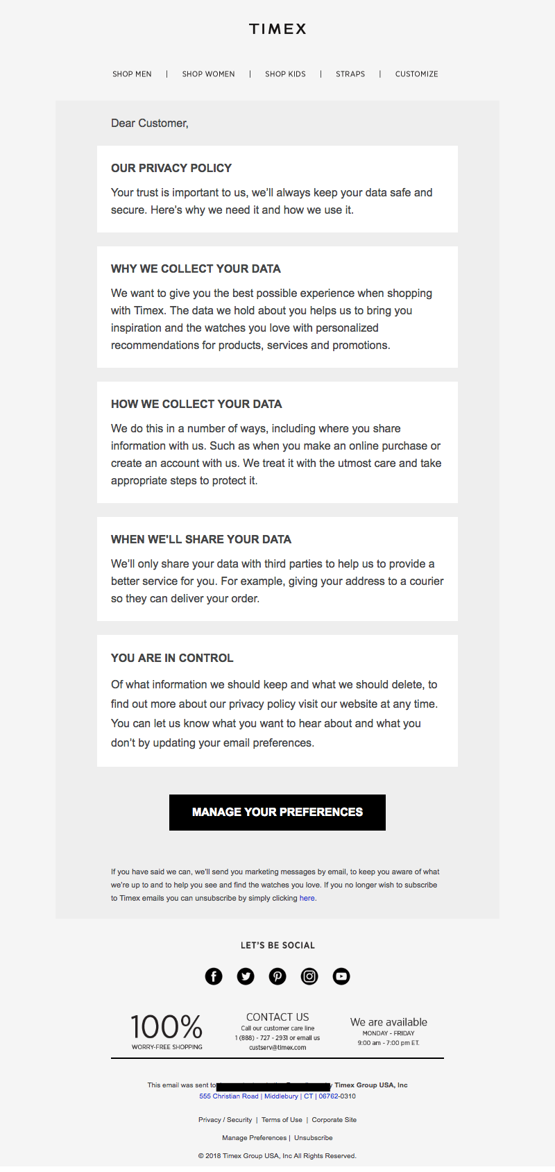 Timex GDPR emails