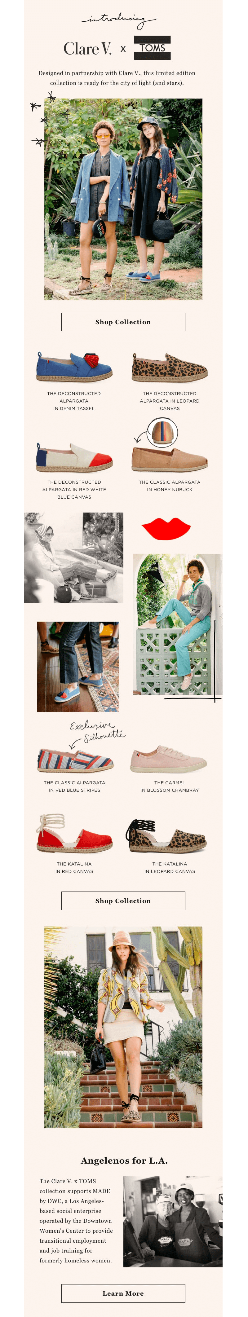 TOMS Clare V. brand collaboration emails