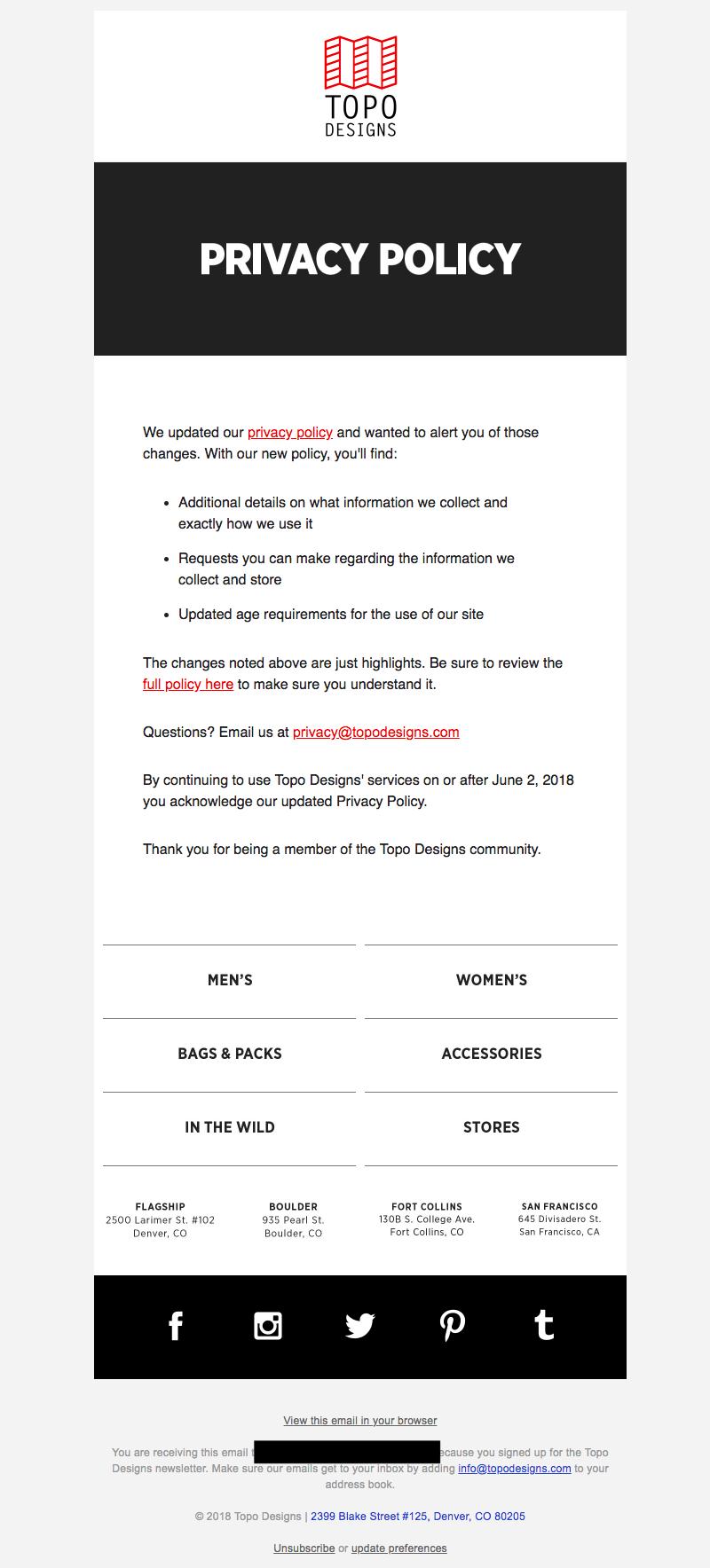 Topo Designs GDPR emails