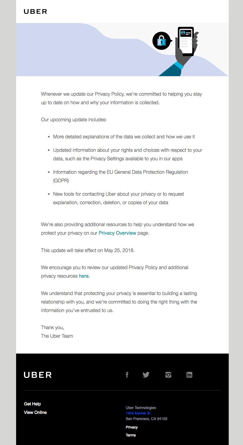 Uber GDPR emails