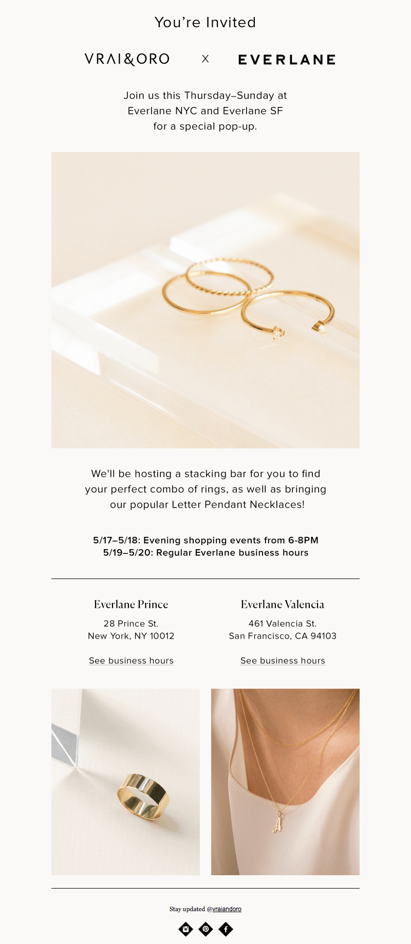 Vrai & Oro Everlane brand collaboration emails