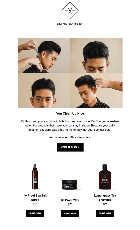 blind barber summer sales emails