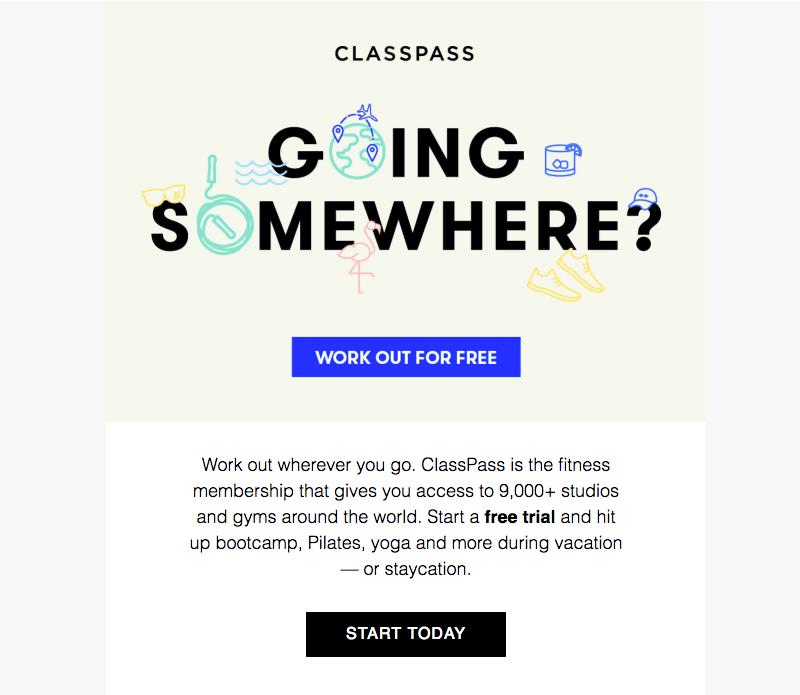 classpass summer sales emails