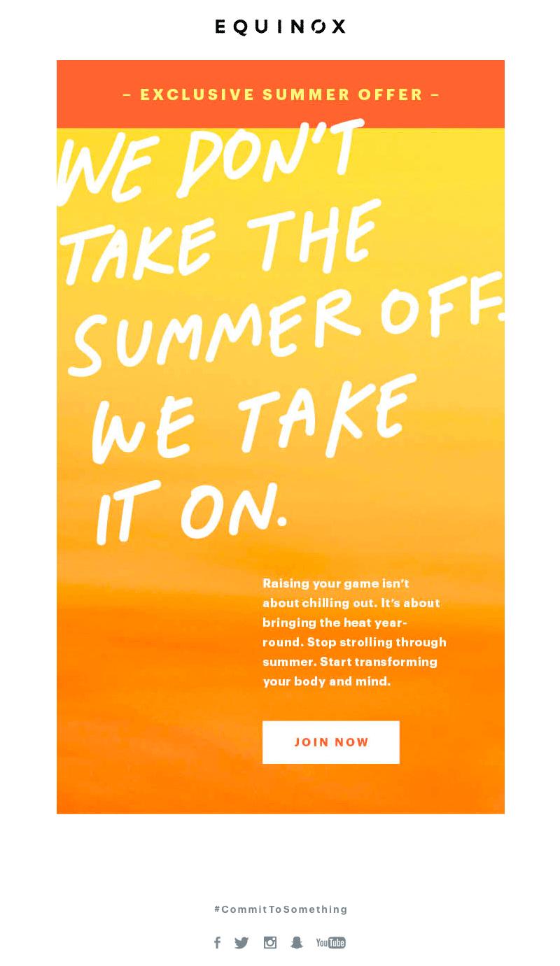 Equinox summer sales emails