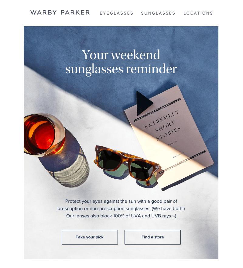 warby parker summer sales emails