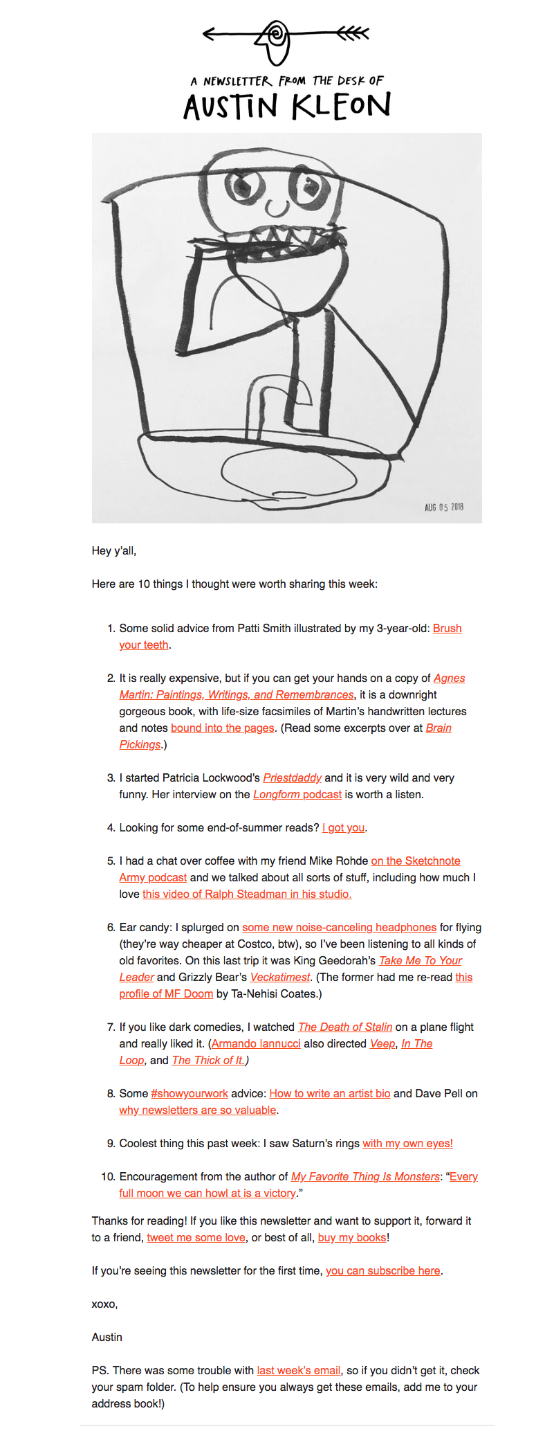 Austin Kleon email newsletter design