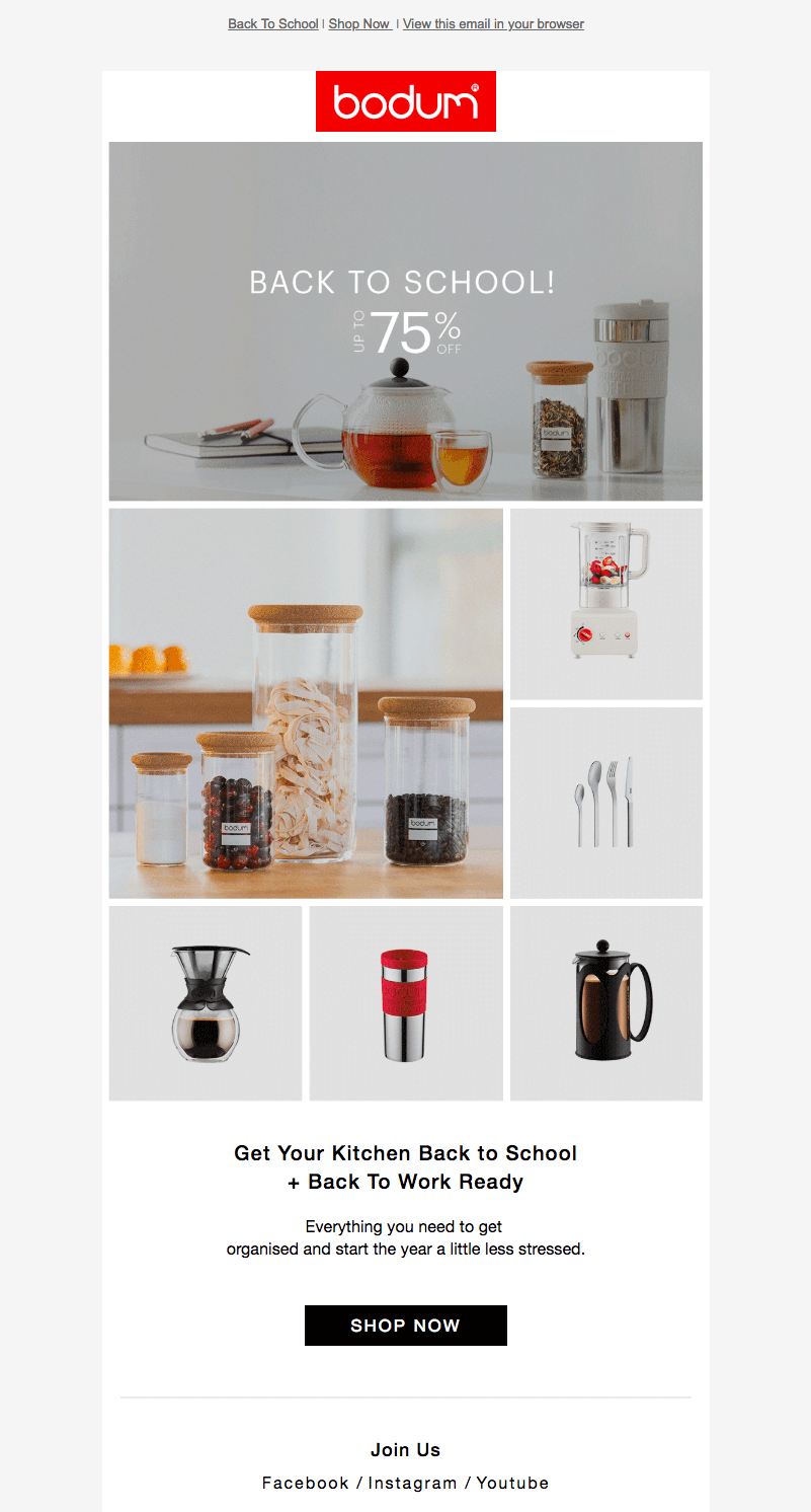 Bodum back-to-school sales emails