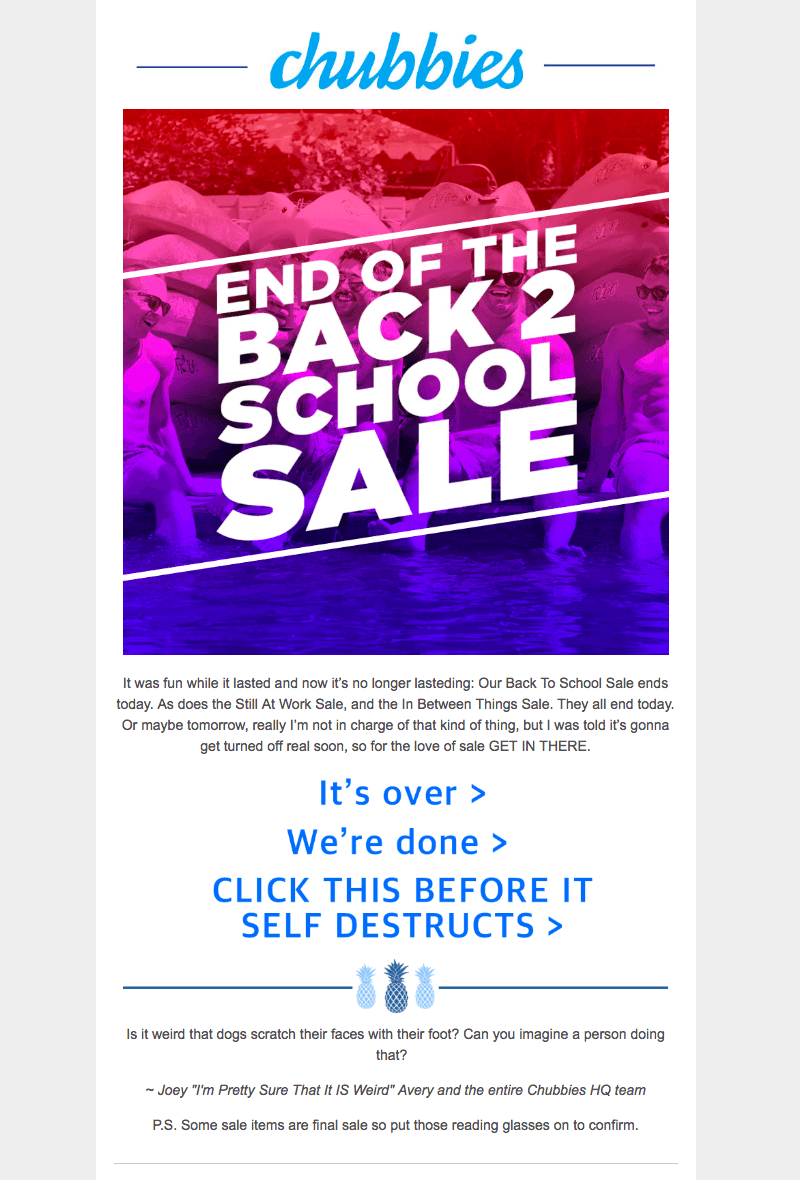 Chubbies back-to-school sales emails