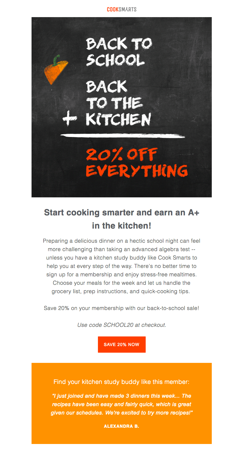 Cook Smarts back-to-school sales emails