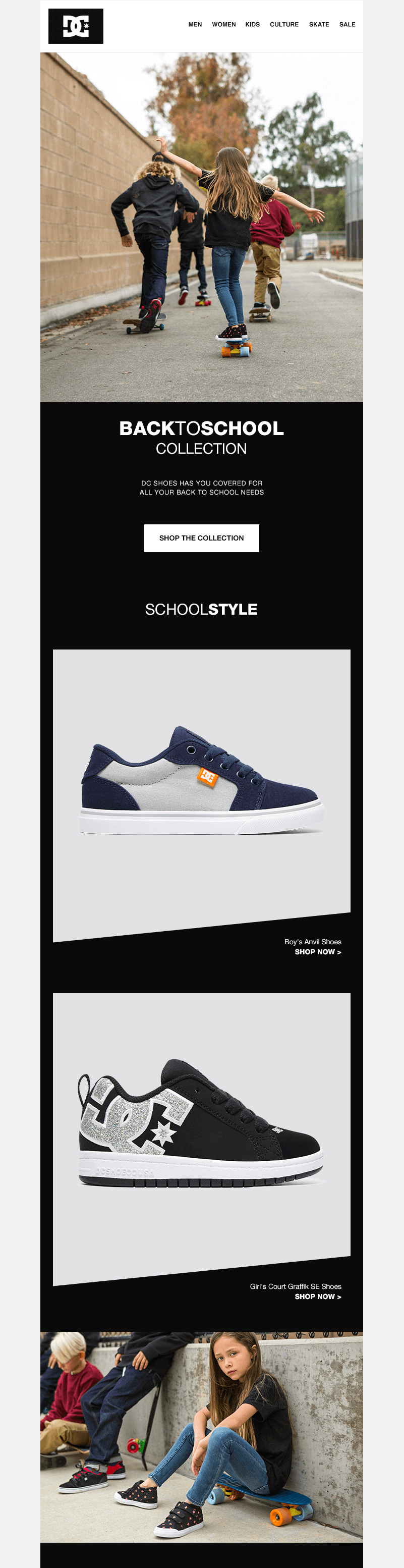 DC Shoes back-to-school sales emails