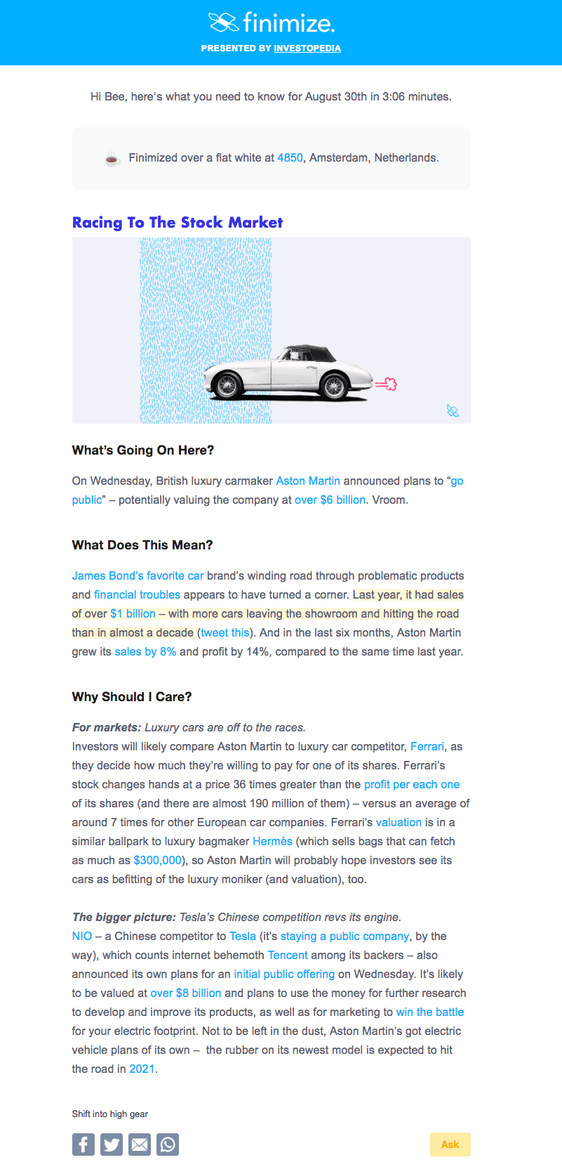 Finimize email newsletter design