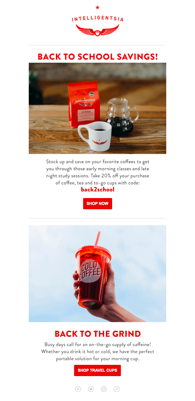 Intelligentsia back-to-school sales emails