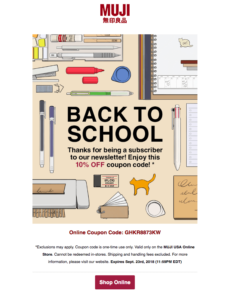 Muji back-to-school sales emails