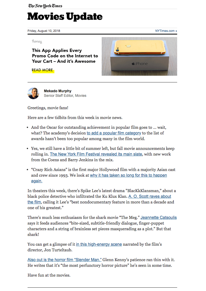 The New York Times Movie Update email newsletter design
