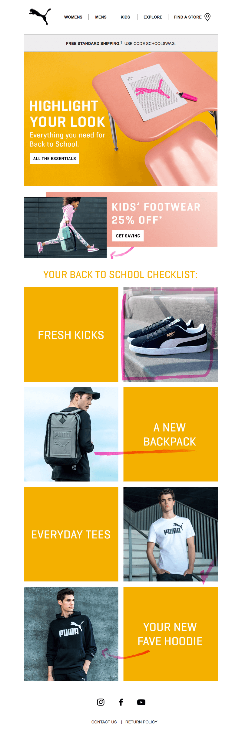 Puma back-to-school sales emails
