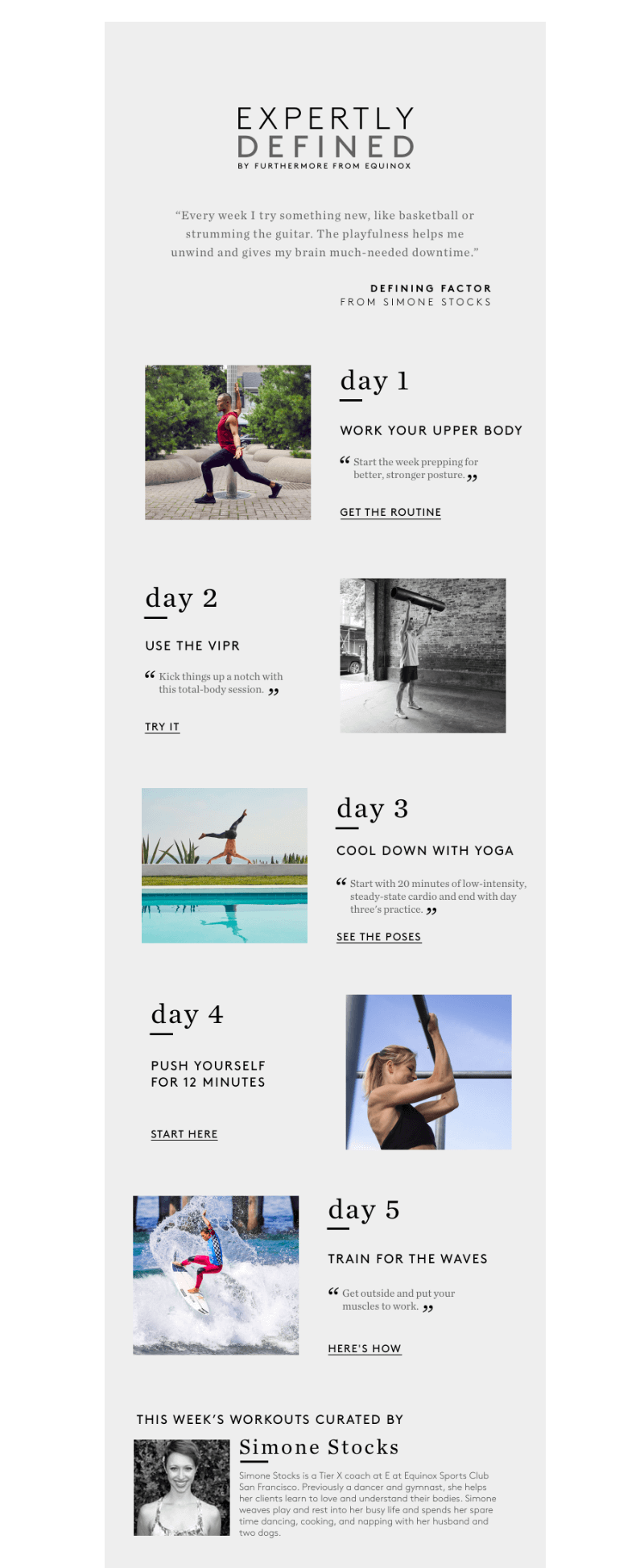 Equinox fall email campaign