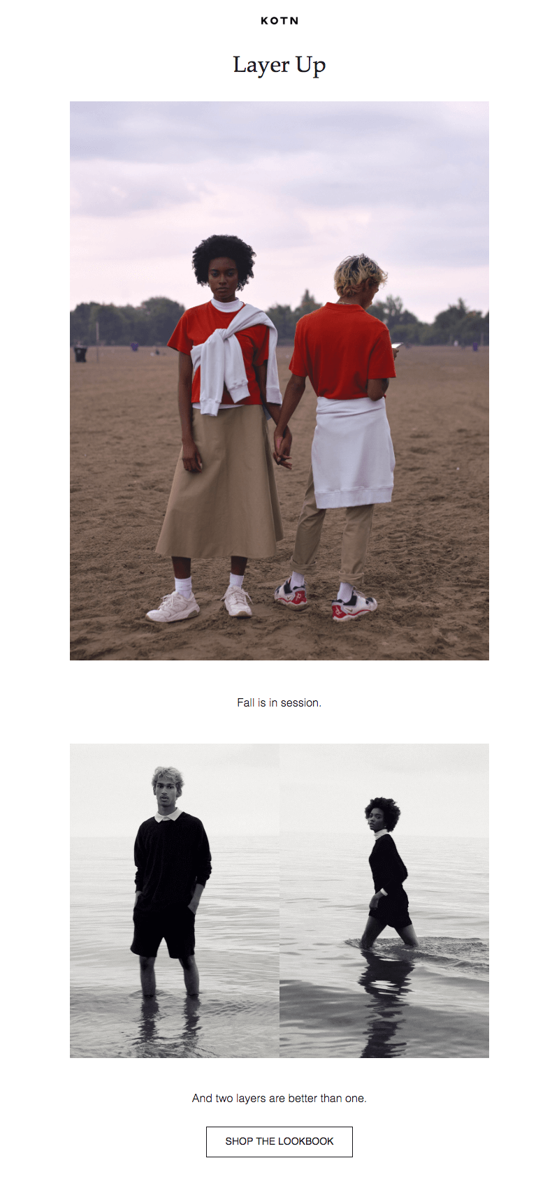 Kotn fall email campaign