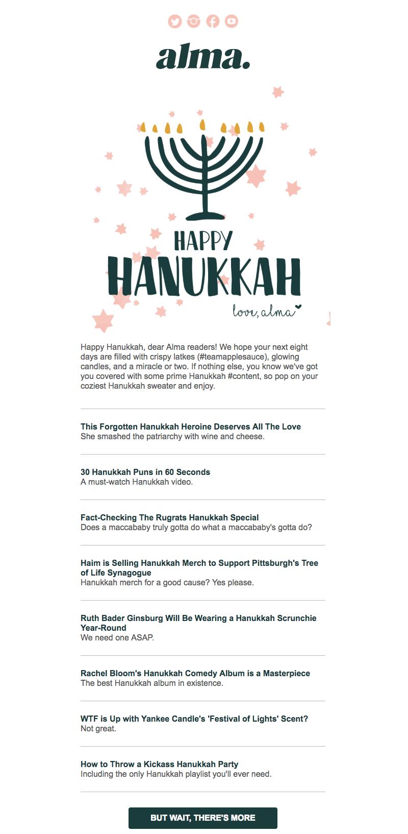 Hanukkah email design