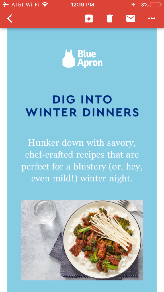 blue apron post-holiday email marketing mobile