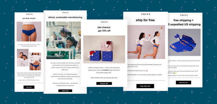 Holiday Emails: A Look Back at How Thinx Dominated Design