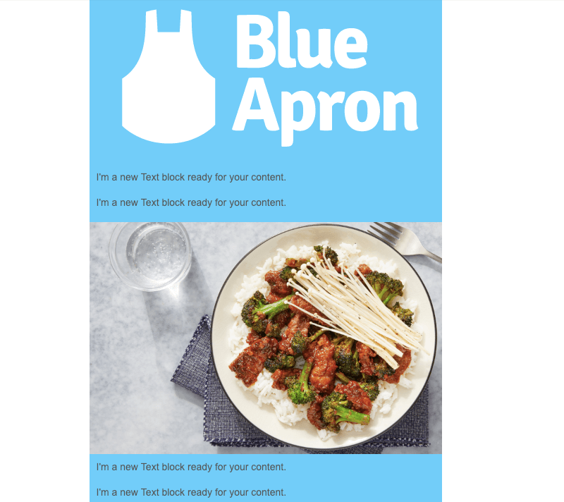 blue apron post-holiday email marketing