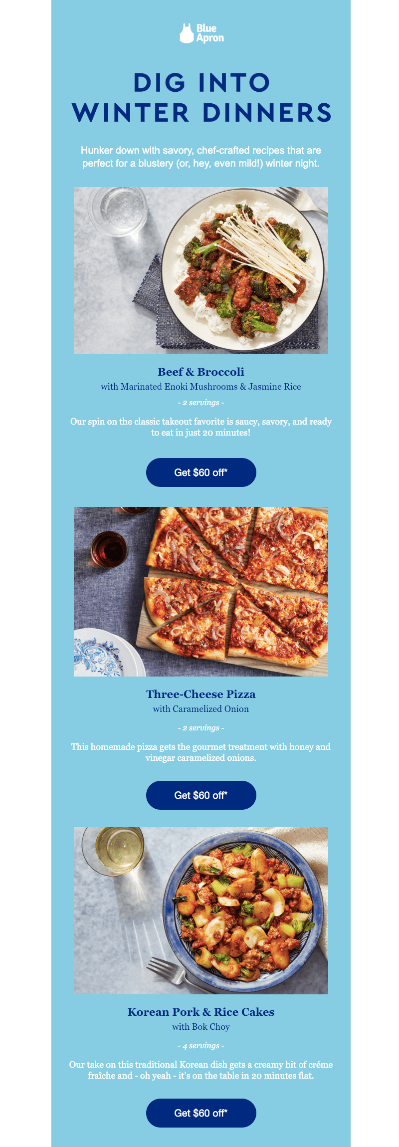 winter email inspiration by blue apron
