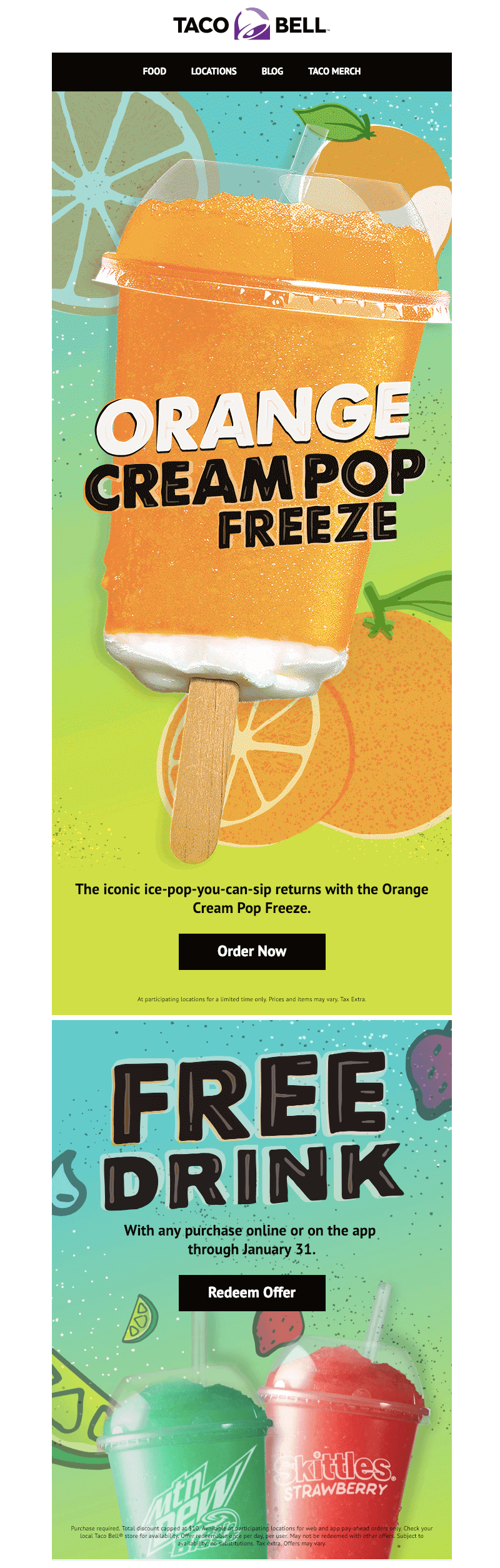 taco bell top email design trends for 2019