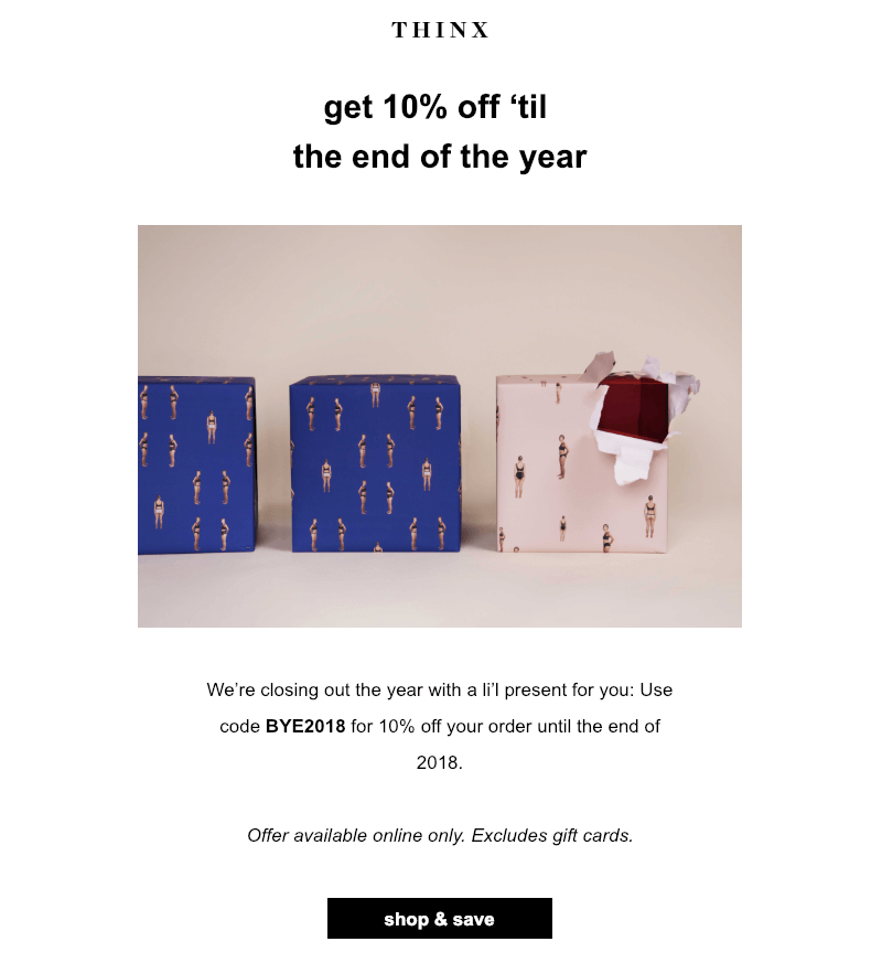 Post-Christmas marketing email example