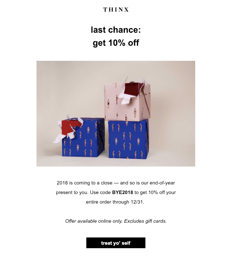 After Christmas Email to Customers from Thinx