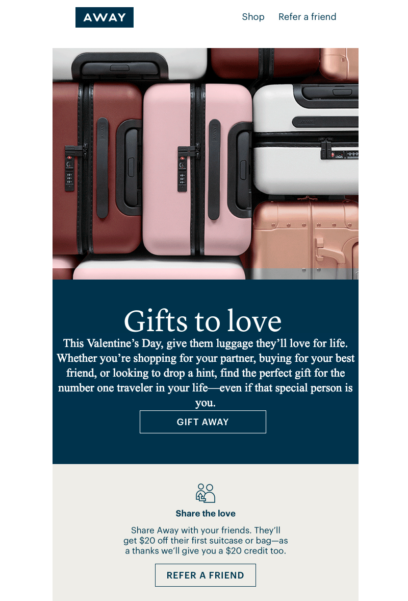 away valentine's day email messages