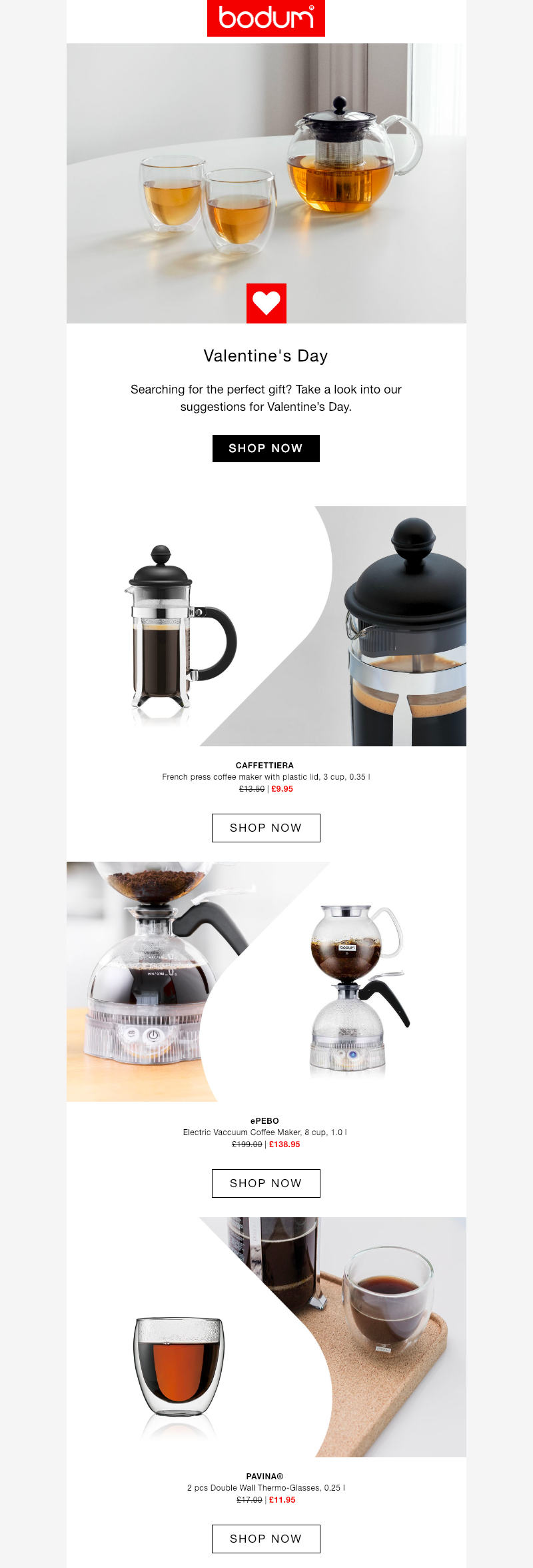 bodum valentine's day email campaign