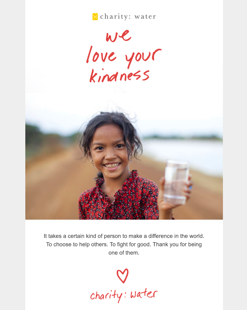 charity water valentine's day email marketing sample