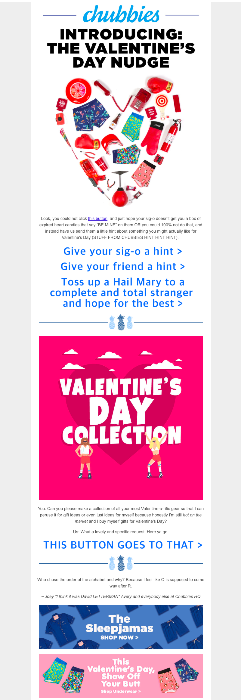chubbies valentine's day email campaign