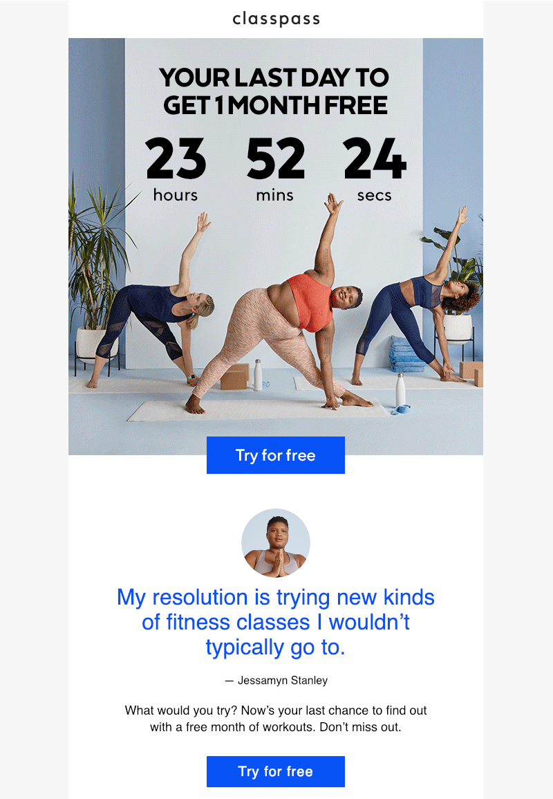 classpass last chance email marketing