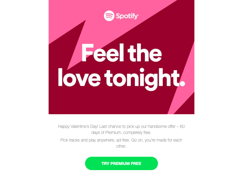 spotify valentine's day email marketing ideas
