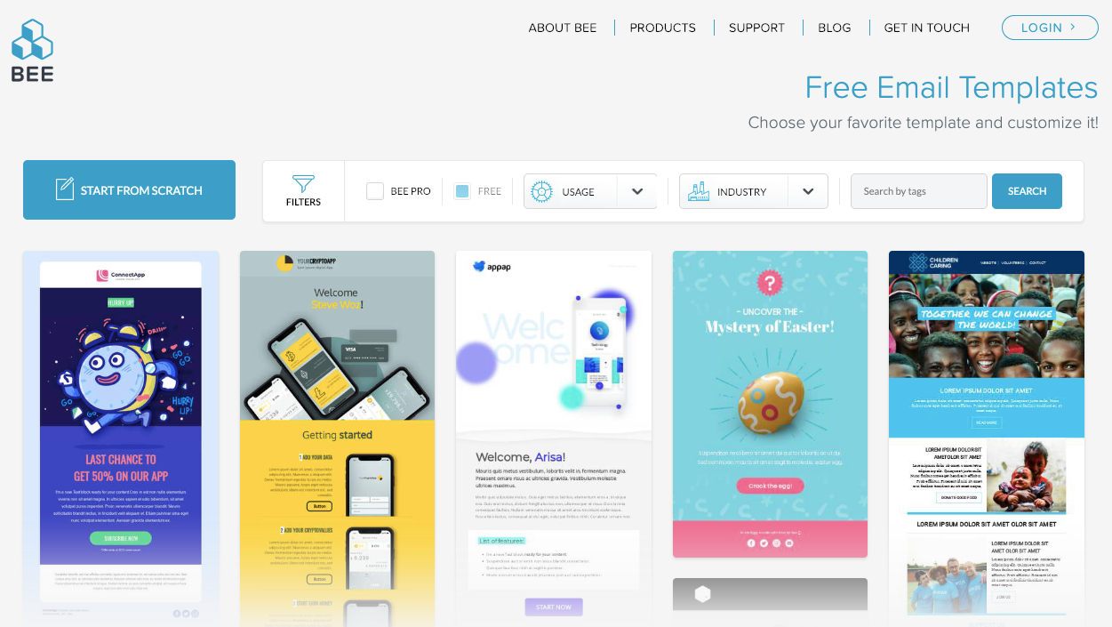 best free mailchimp templates in bee