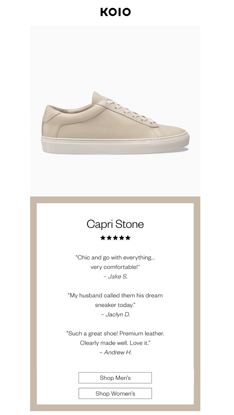 minimalist email newsletter from koio