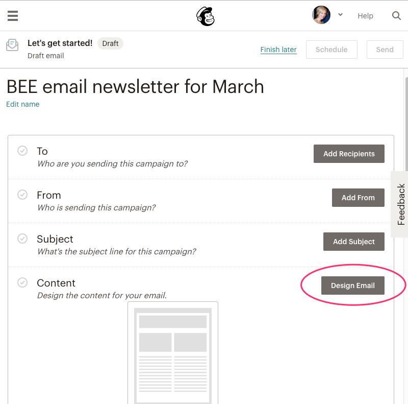 mailchimp newsletter design how to
