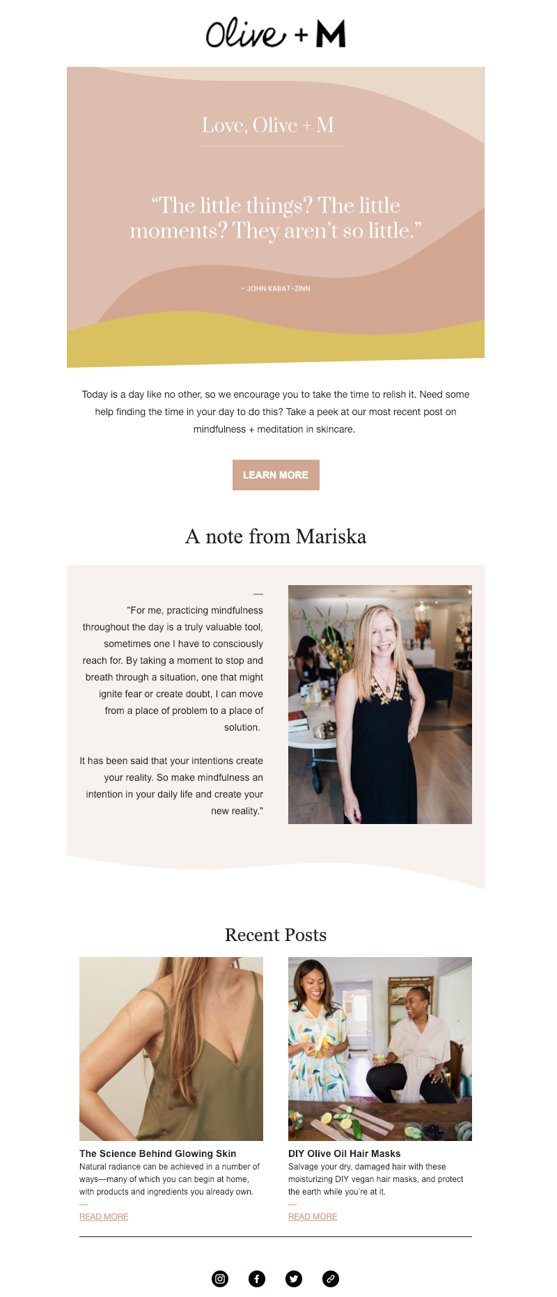 olive + m email newsletter design trends